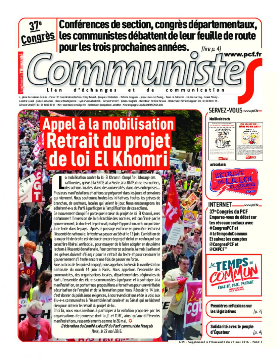 Journal CommunisteS n°639 - 25 mai 2016